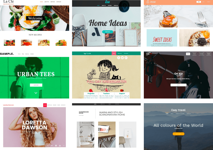 site builder template preview